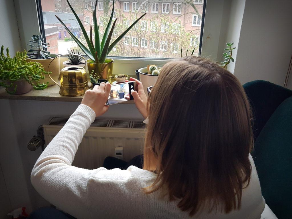 Frau fotografiert Kakteen