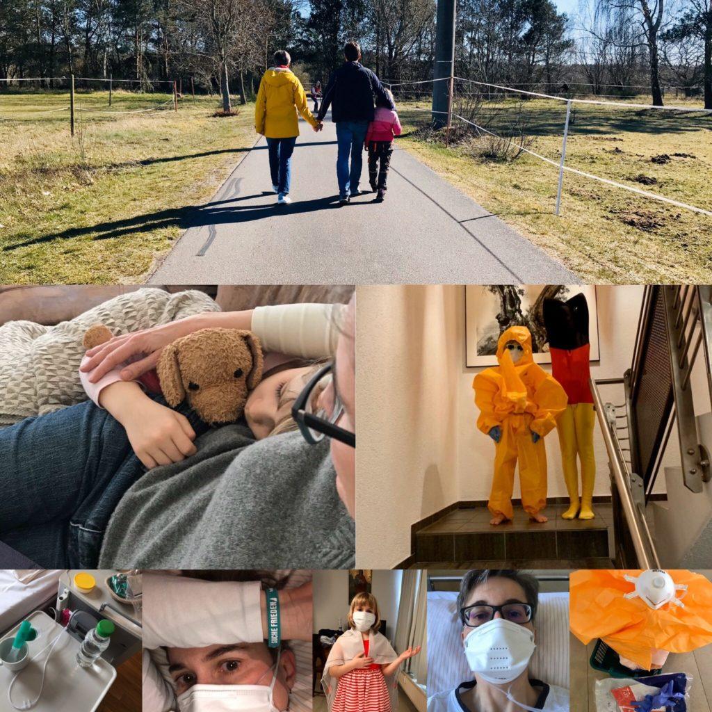 Collage: Karoline Preisler und ihre Familie vor, während und nach Corona
