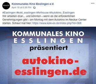 Facebook-Post des kommunalen Kinos Esslingen: Sie präsentieren ihr neues Programm. Autokino in Esslingen.
